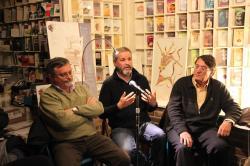 La presentación del libro el 10 de abril 2013 en la Librería Rafael Alberti. El autor, junto a Eduardo de Juana (derecha) y  Joaquín Araújo (izquierda). SEO/BirdLife