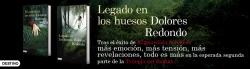 Banner promocional sobre la novela 'Legado en los huesos' de Dolores Redondo.