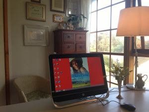 Her writing space