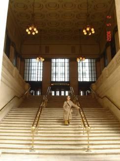 """En Chicago en la escalera de la película """"39 escalones"""""""