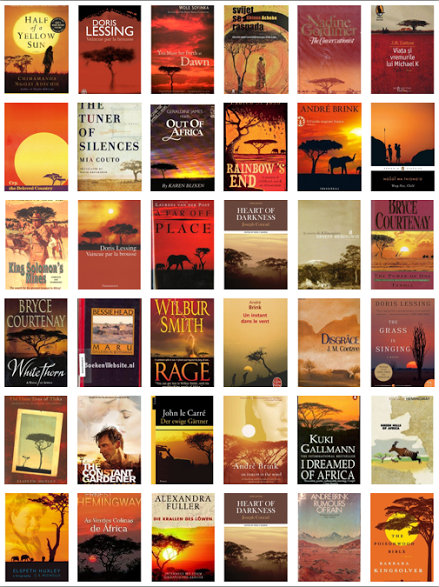 Collage de 36 portadas de libros de África. Por: Simon Stevens